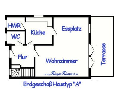 """Grundri� Erdgescho� Haustyp """"A"""" FerienResidenz Losentitz auf R�gen"""