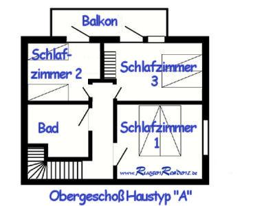 """Grundri� Obergescho� Haustyp """"A"""" FerienResidenz Losentitz auf R�gen"""