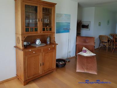 Im Wohnzimmer des Ferienhauses Silmenitz / Rügen